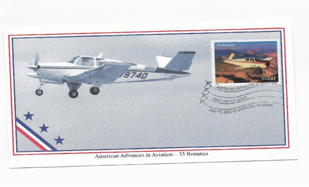 First Day of Issue cover of the 2005 postage stamp featuring the V Tail Beech 5