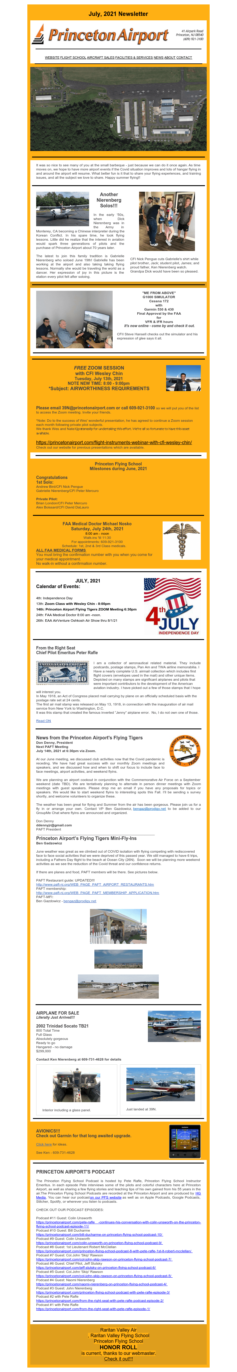 July 2021 News from Princeton Airport